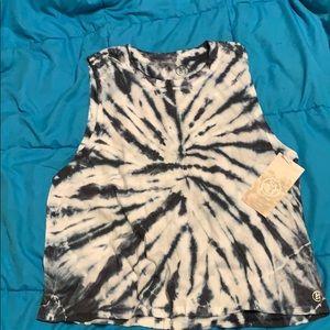 Sage tie dye cut sleeves shirt